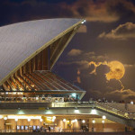 Supermoon behind Opera House by Matthew Hudson is a finalist in the Memories of Apollo category of The David Malin Awards.